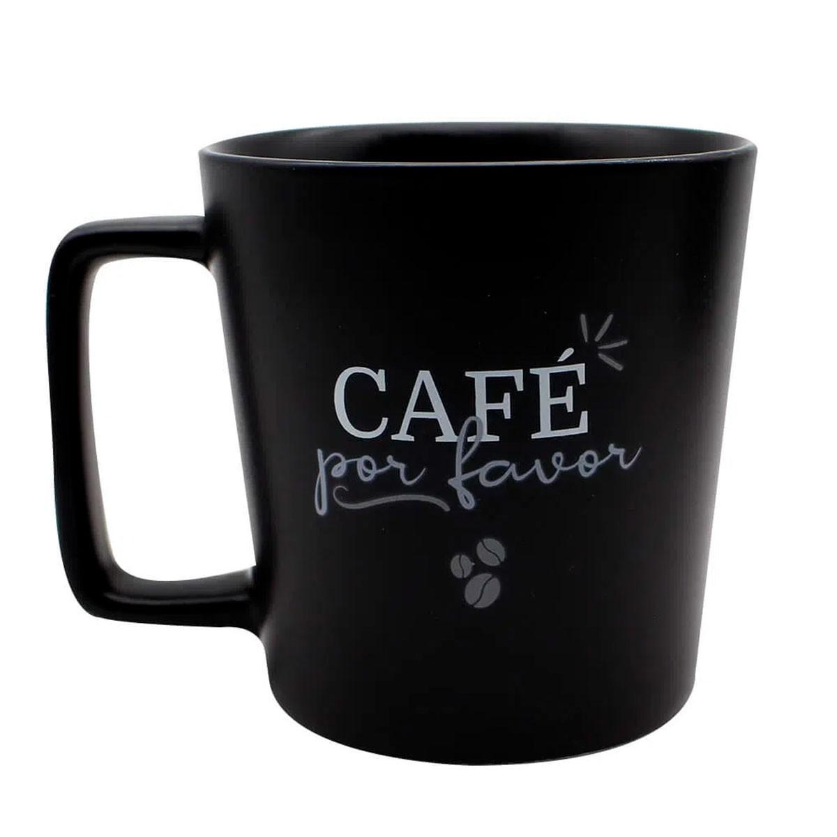 Caneca Alça Quadrada Café Por Favor 400 ml