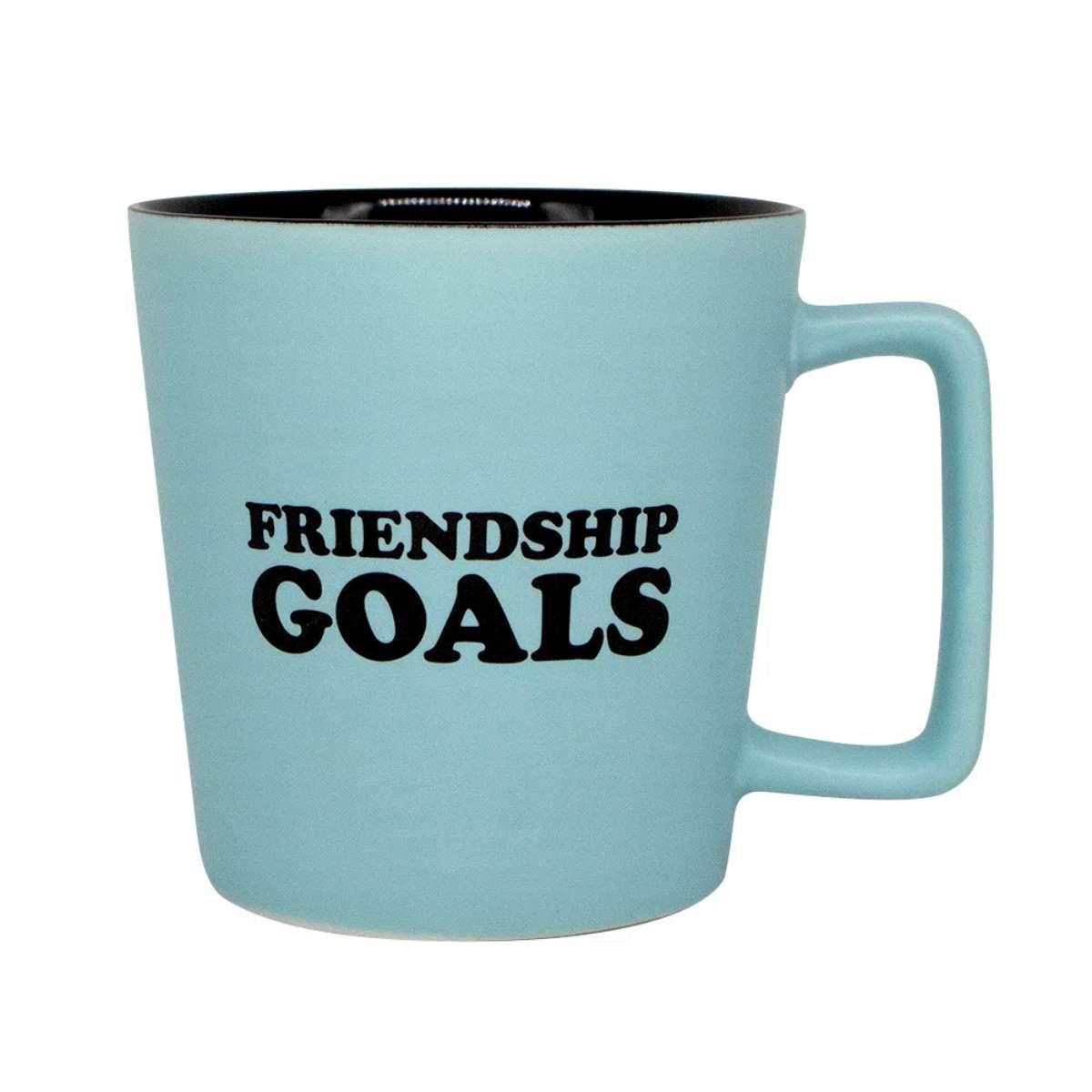 Caneca Alça Quadrada Snoopy Charlie Brown Friendship Goals Amizade