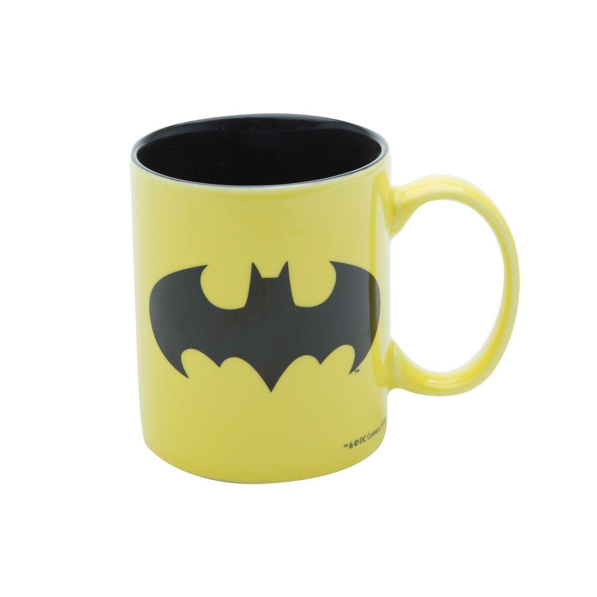 Caneca Batman Logo Amarela Dc Comics