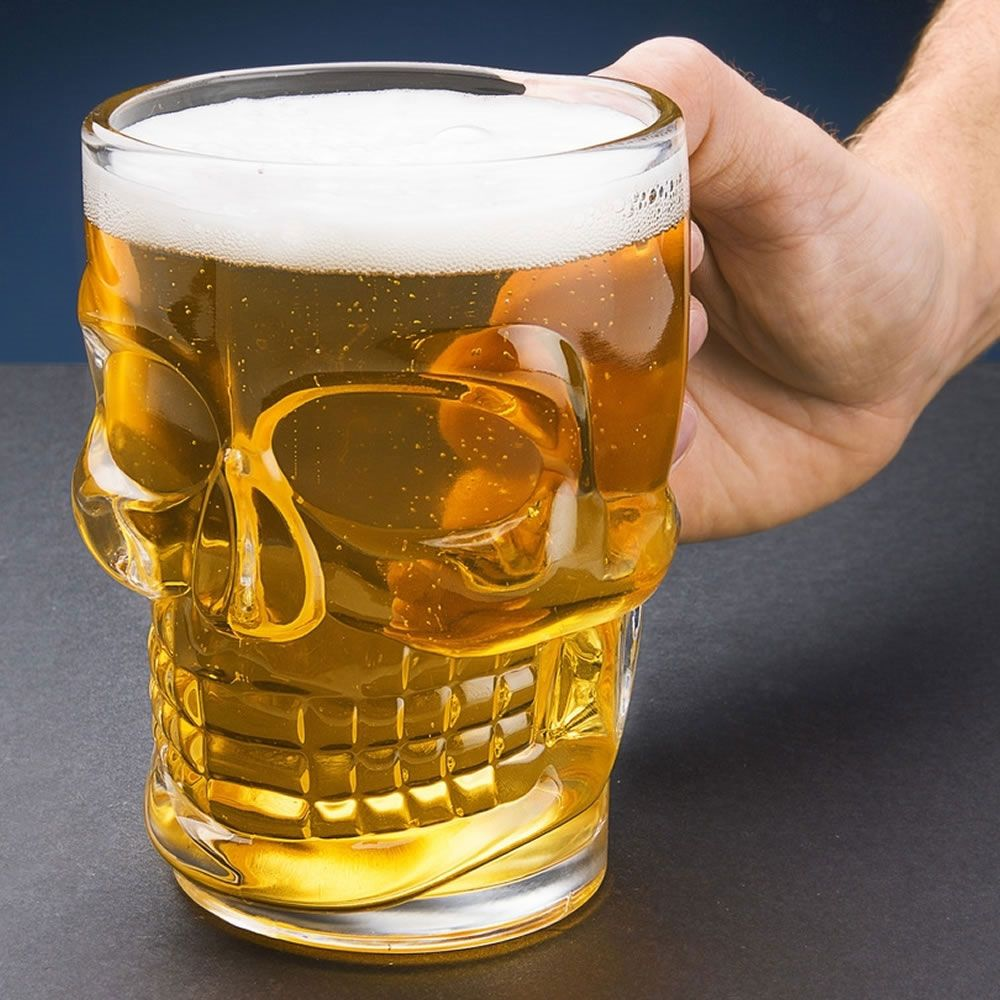 Caneca Chopp Cerveja Vidro Caveira Rock 510 ml