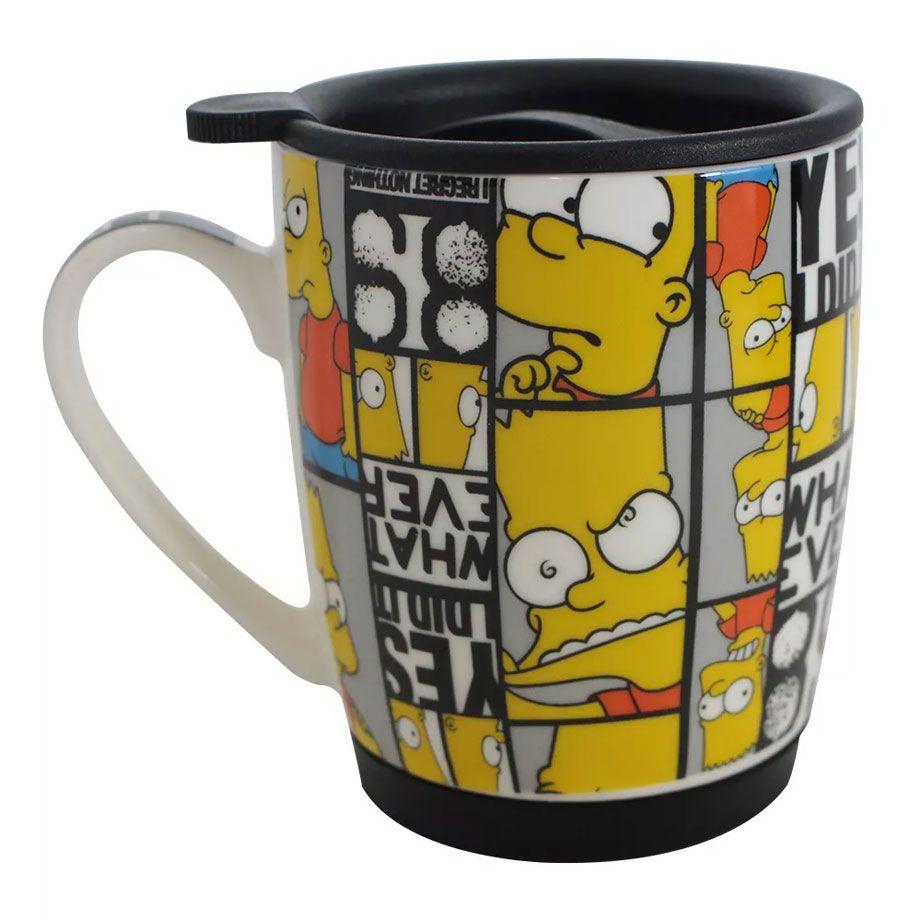 Caneca com Tampa e Base de Silicone Bart Simpsons