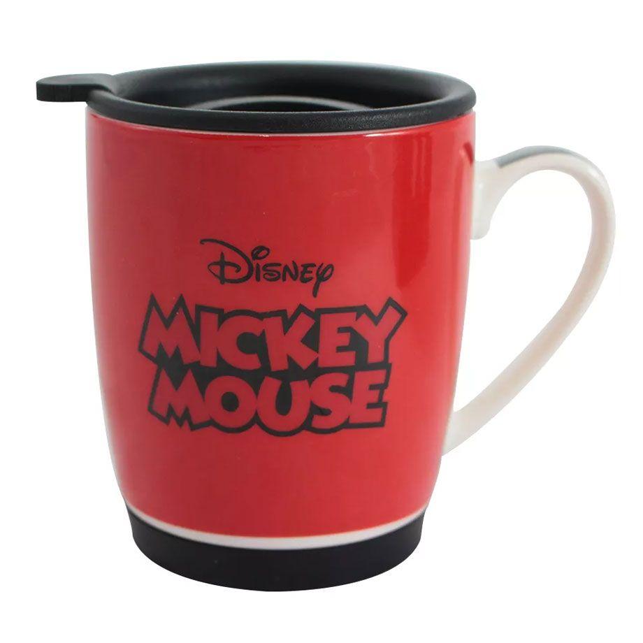 Caneca com Tampa e Base de Silicone Mickey Mouse