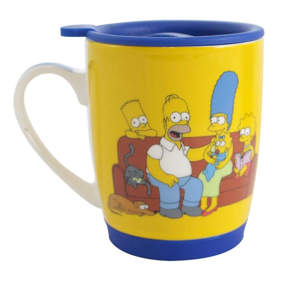 Caneca com Tampa e Base de Silicone The Simpsons