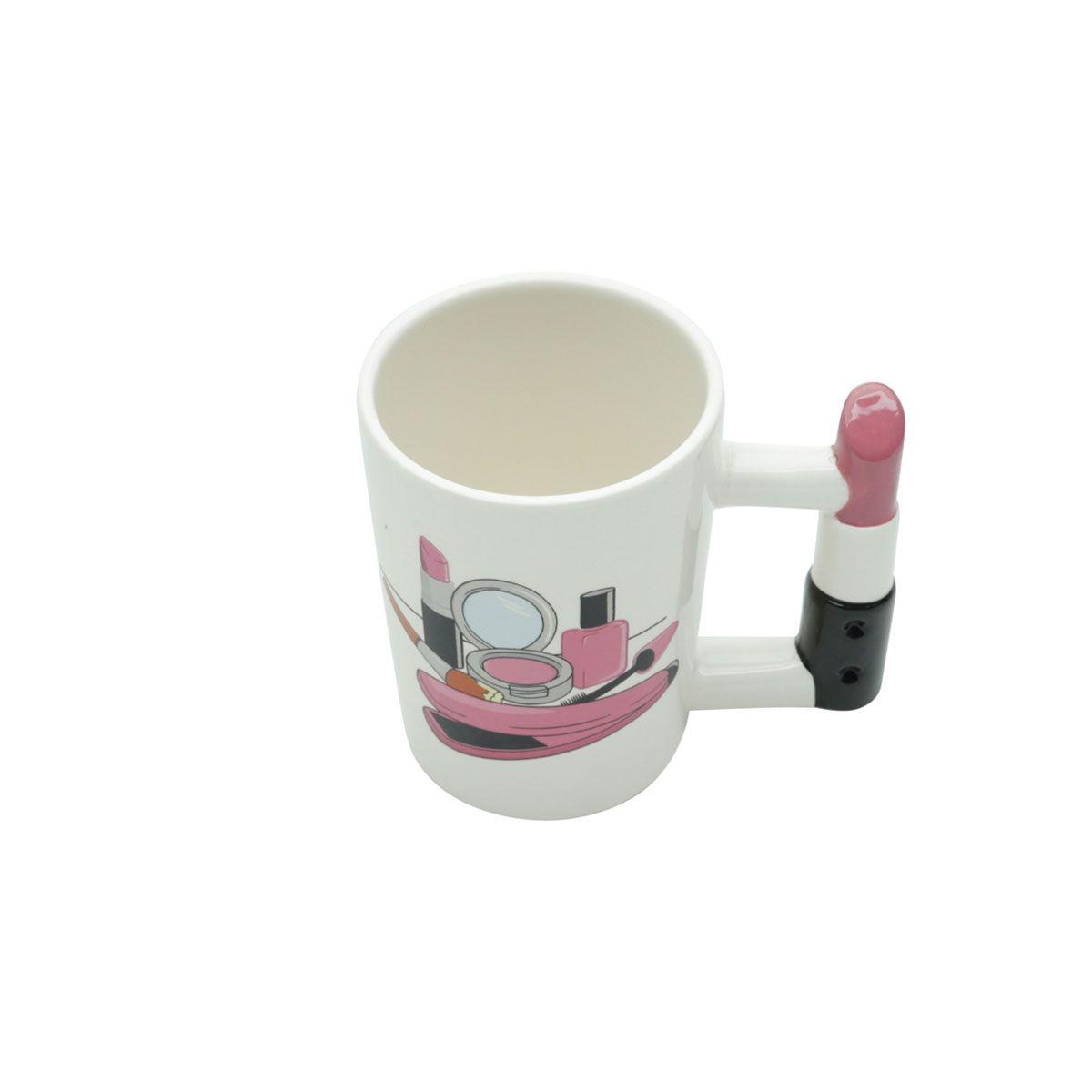 Caneca de Cerâmica Maquiagem Alça Formato Batom 380 ml