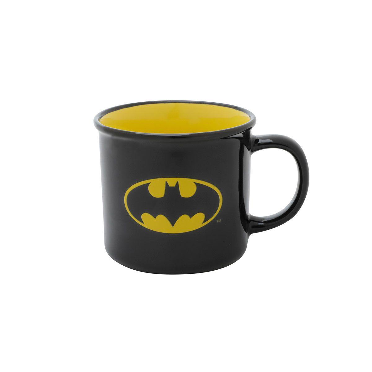 Caneca de Porcelana Batman Logo Preto Amarelo