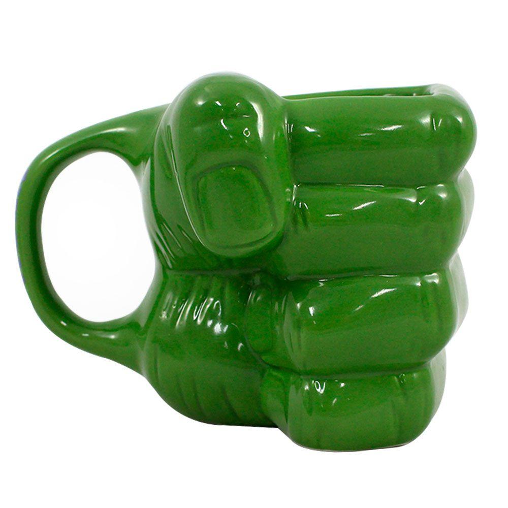 Caneca Porcelana 3D Mão Hulk Vingadores - 350 ml