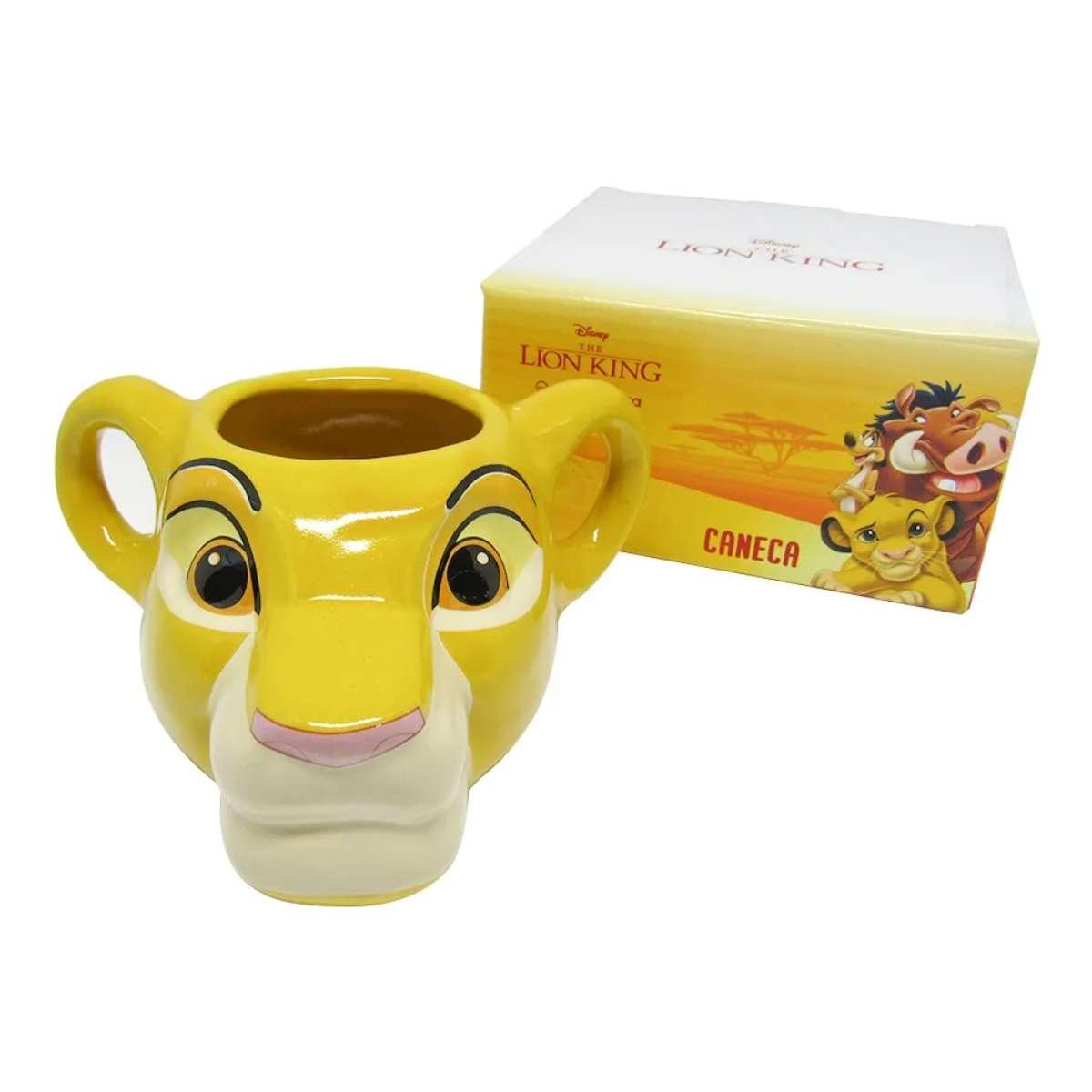 Caneca Porcelana 3D Rei Leão Simba 350 ml