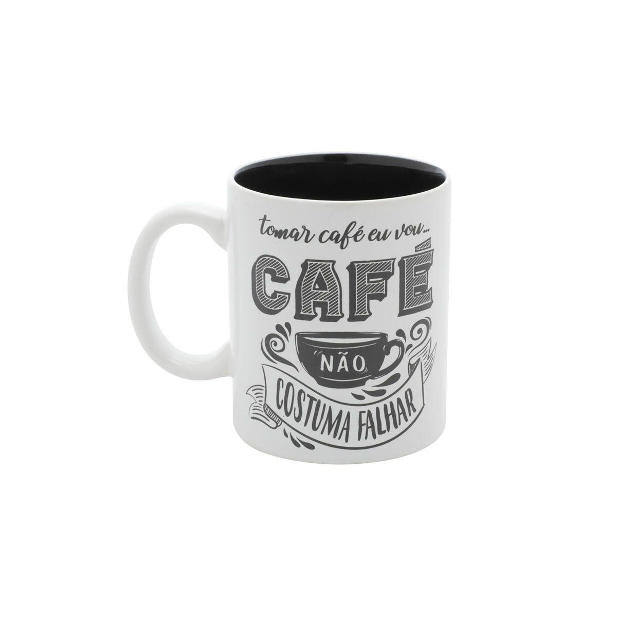 Caneca Porcelana Café Não Costuma Falhar