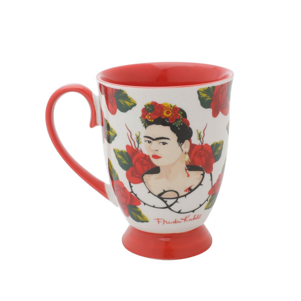 Caneca Porcelana Rococó Frida Kahlo Face Rosas Vermelhas