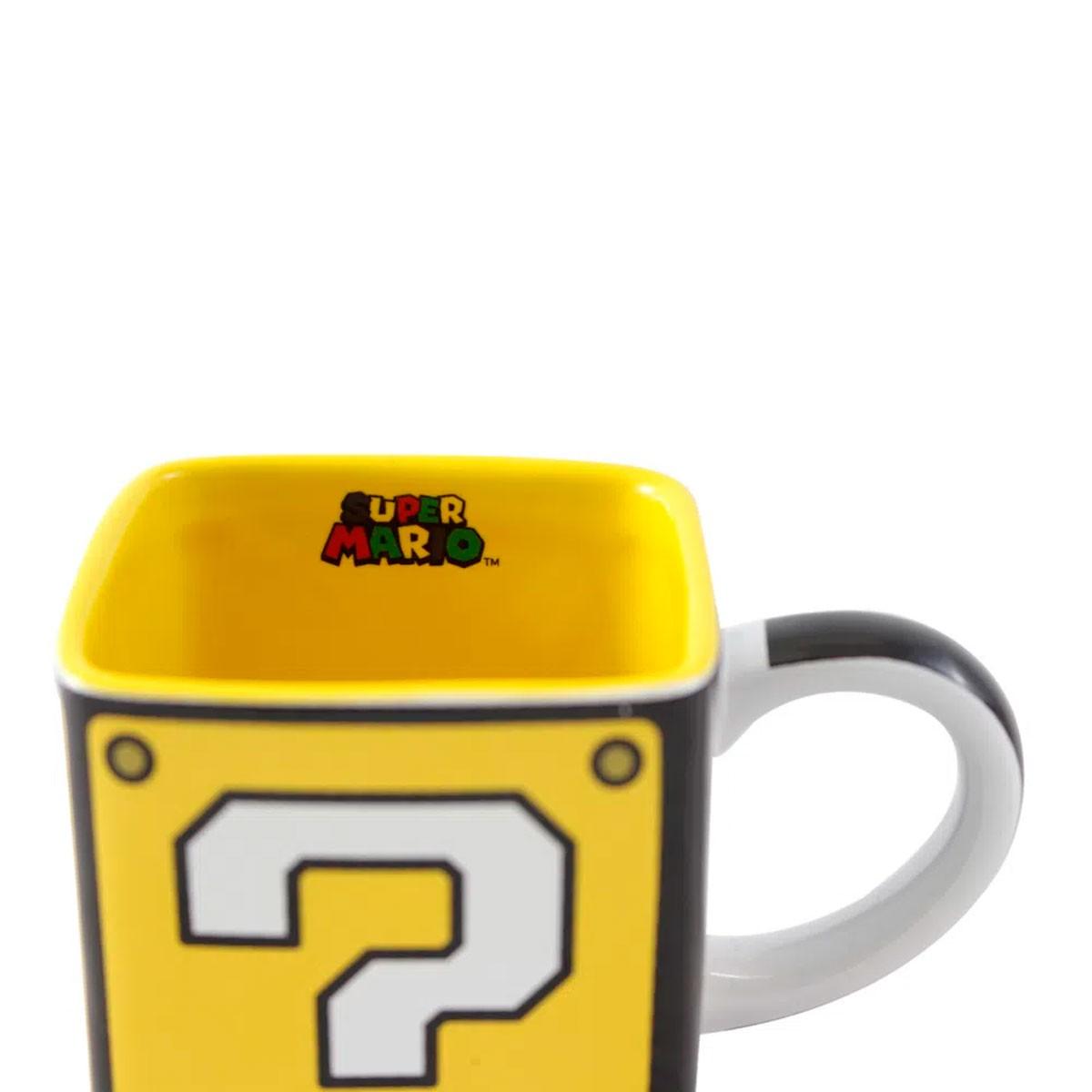 Caneca Quadrada Bloco Mario - Bloco Interrogação Super Mario FBA