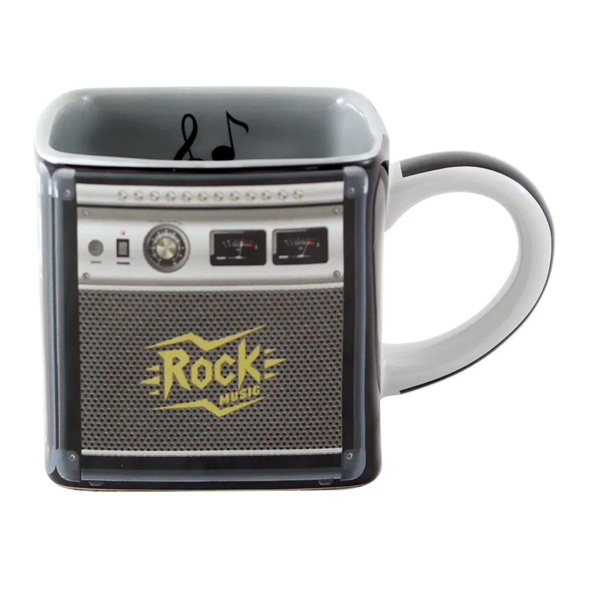 Caneca Quadrada Cubo Amplificador Rock Music