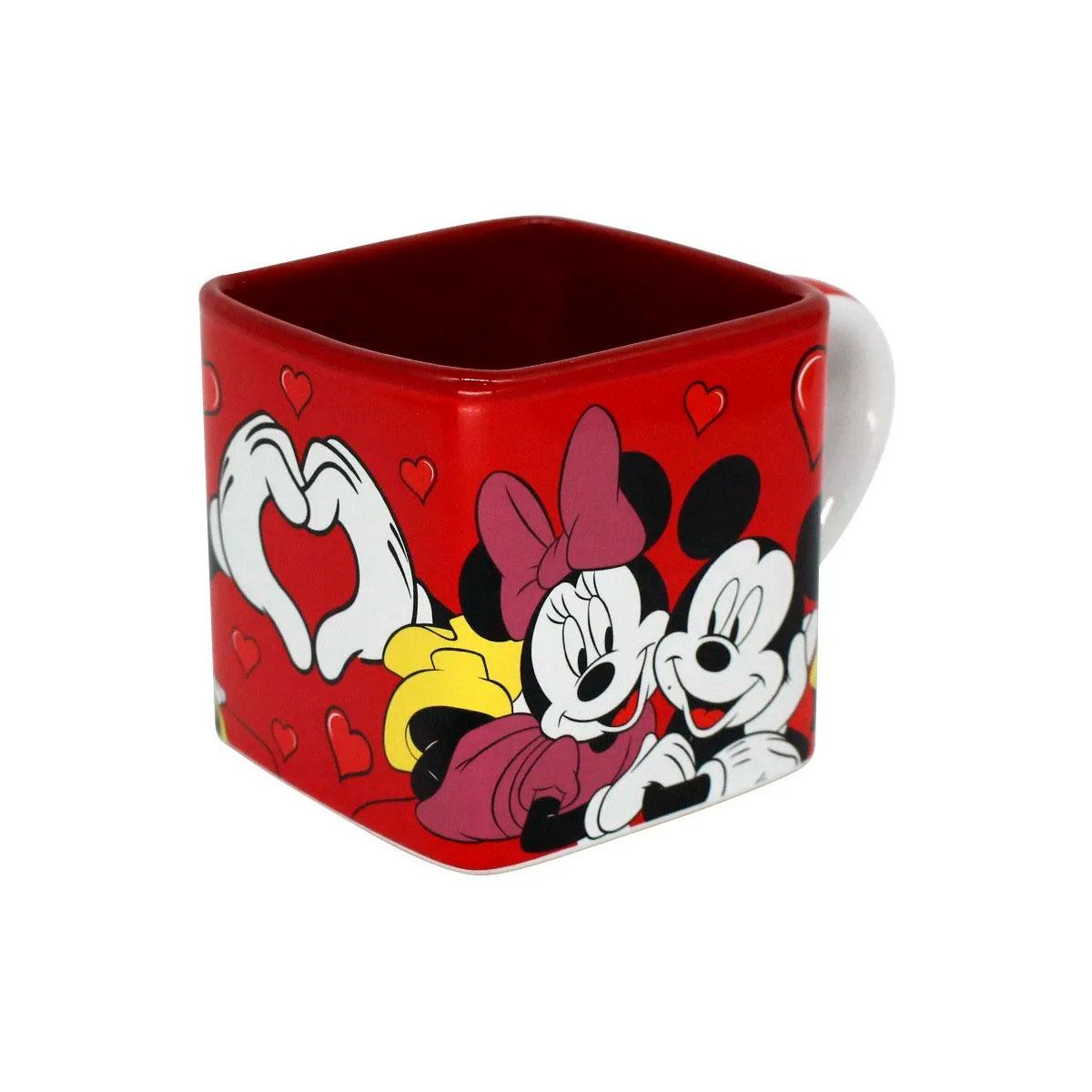Caneca Quadrada Cubo Mickey e Minnie Namorados