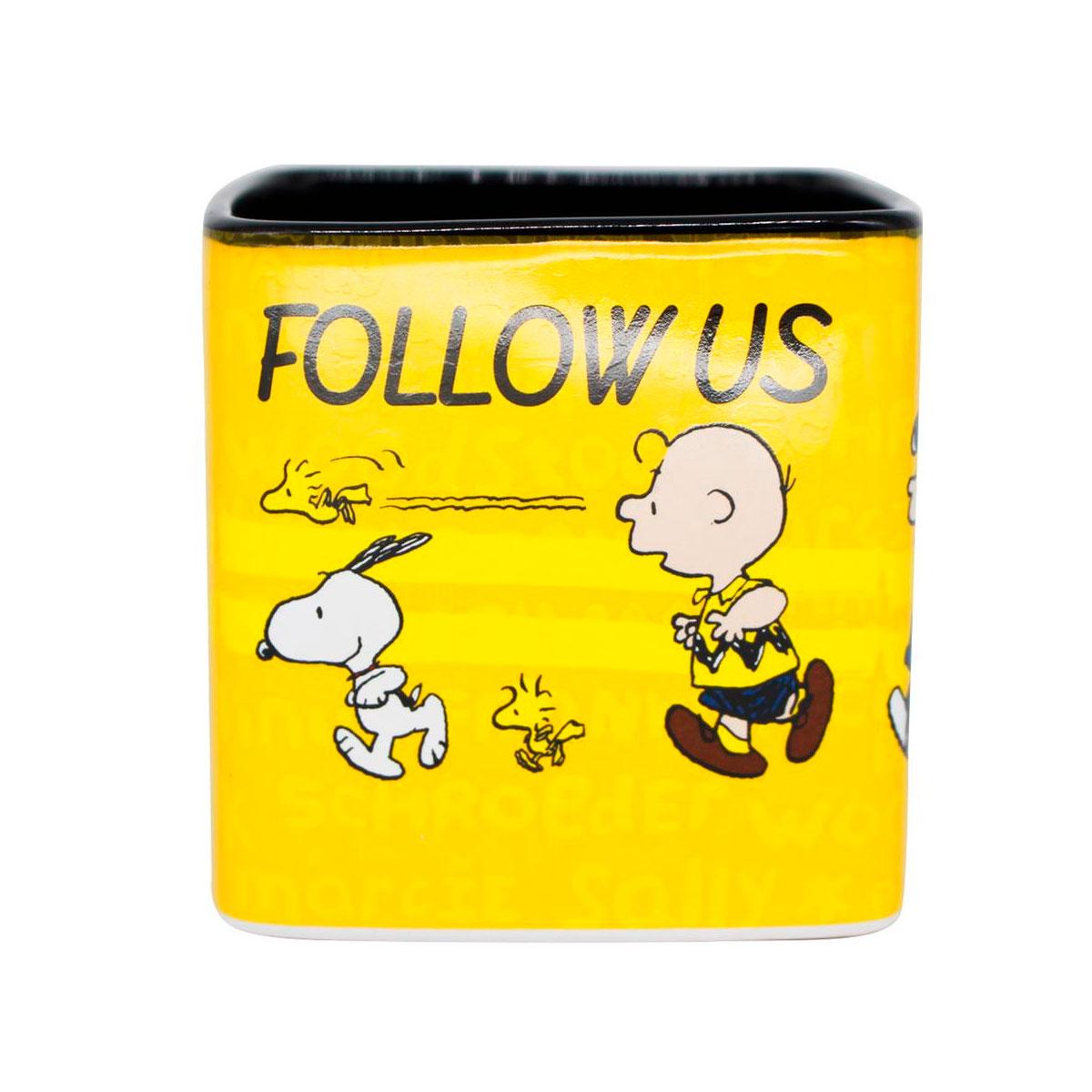 Caneca Quadrada Cubo Turma Snoopy Follow Us