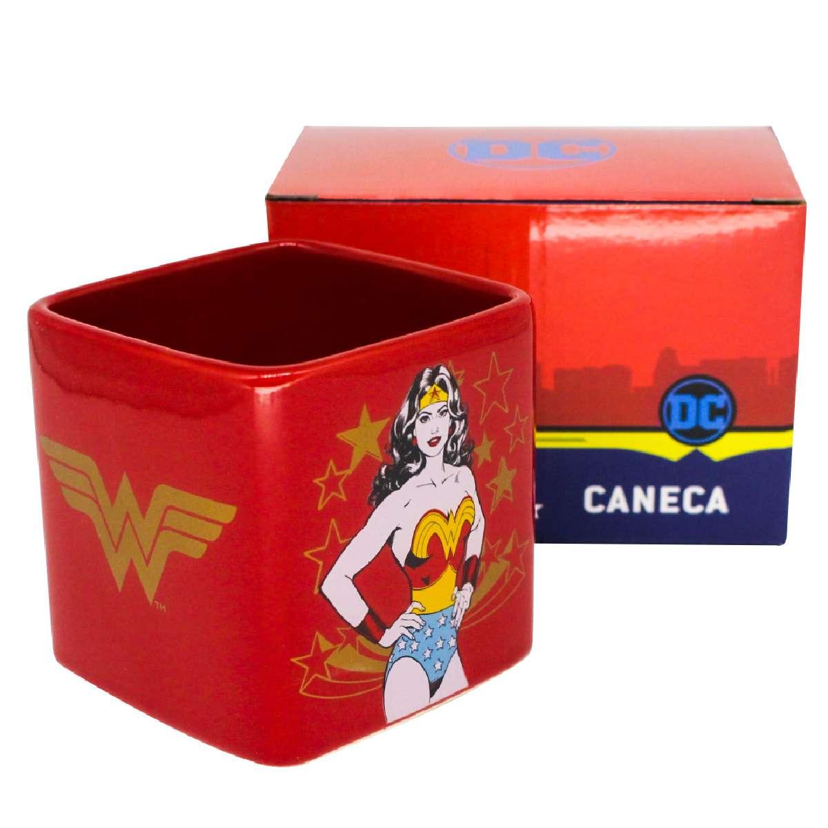 Caneca Quadrada Mulher Maravilha Símbolo DC Comics