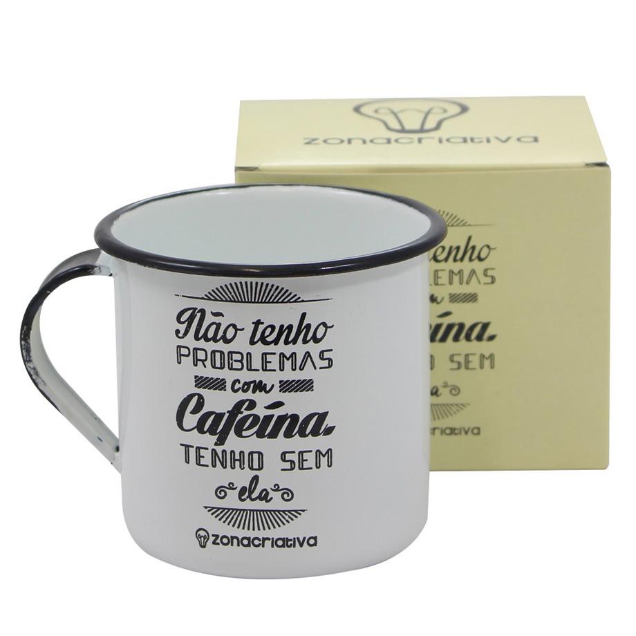Caneca Retrô Cafeína Branca