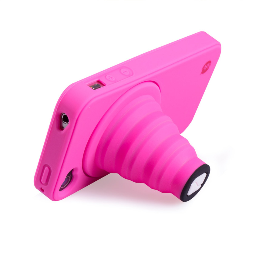 Capa Celular Iphone 4 Camera Com Apoio Pink