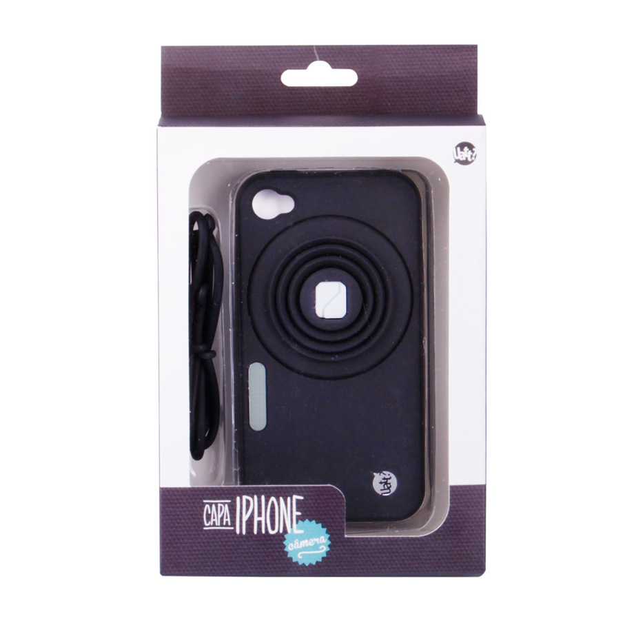 Capa Celular Iphone 4 Camera Com Apoio - Preto