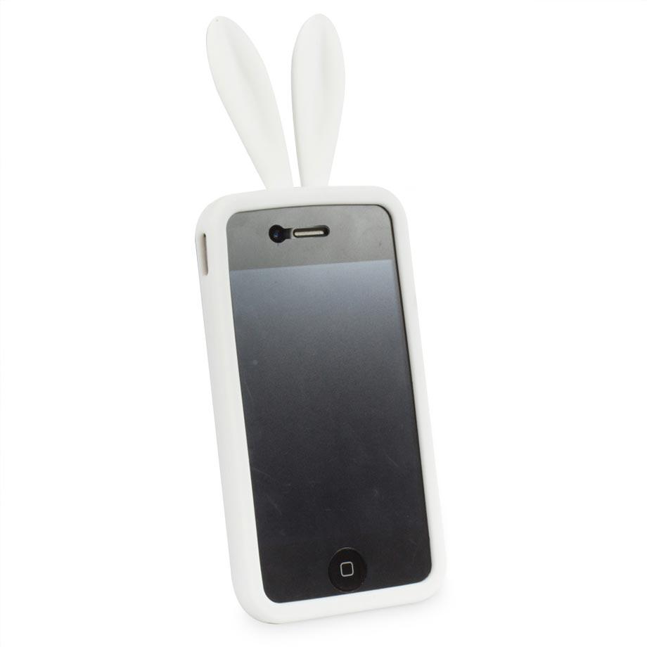Capa para Celular Iphone 4 Divertida - Coelho Branco