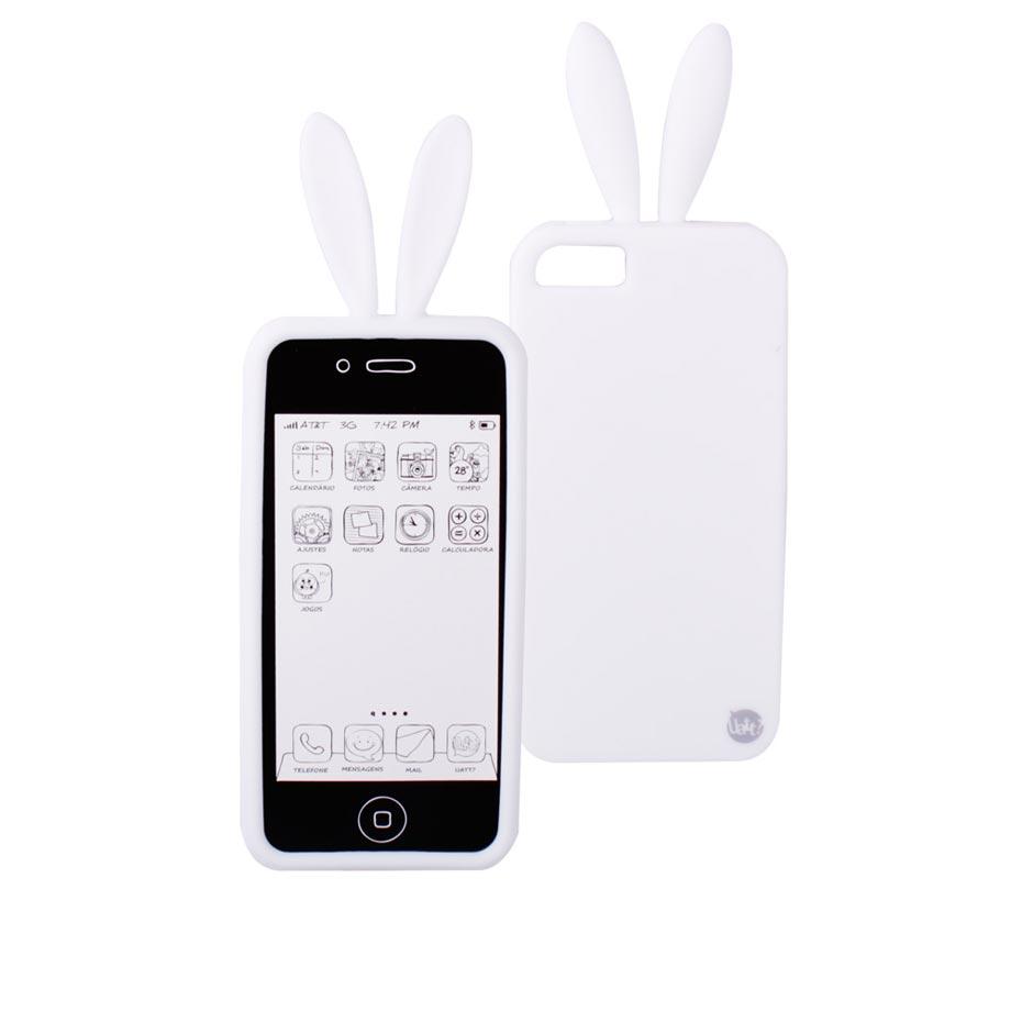 Capa para Celular Iphone 5 5s Divertida - Coelho Branco