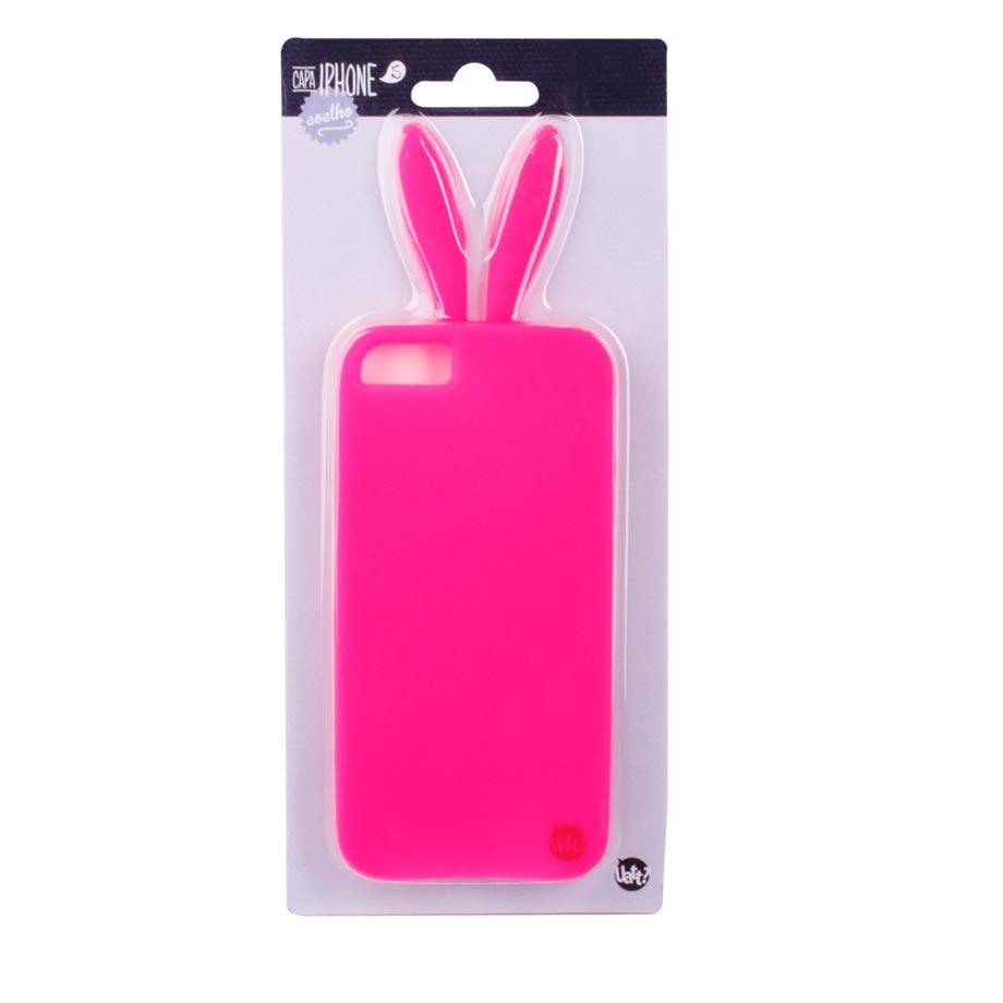 Capa para Celular Iphone 5 5s Divertida - Coelho Pink