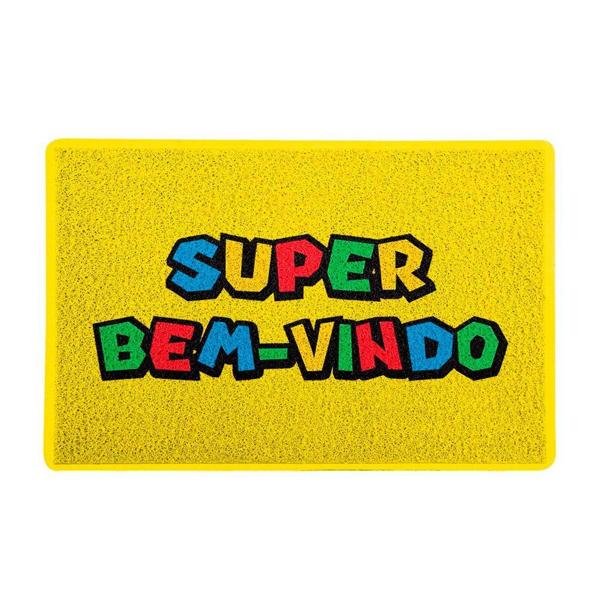 Capacho Decoração Geek 60x40cm Super Bem Vindo Super Mario