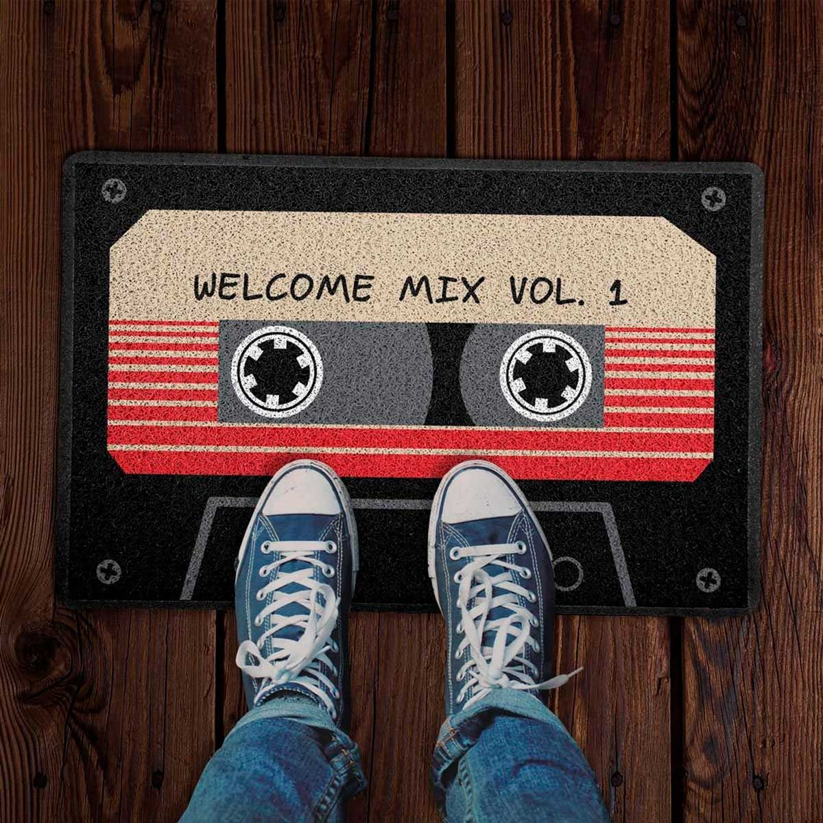 Capacho Decoração Geek 60x40cm Welcome Mix