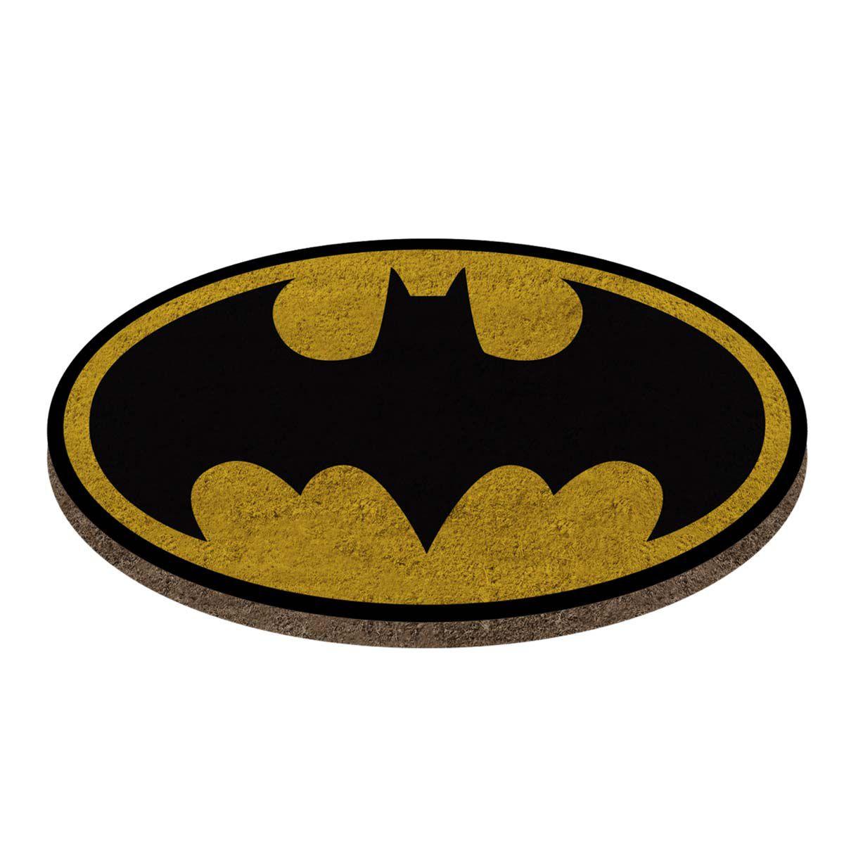 Capacho Fibra de Coco Batman Logo Amarelo Dc Comics 40x70cm