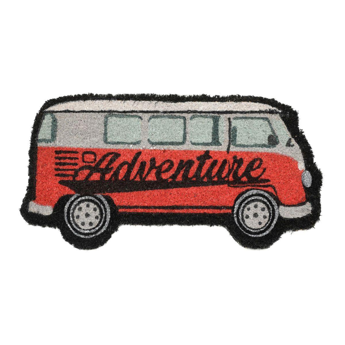 Capacho Fibra de Coco Kombi Adventure Vermelha 60x31cm