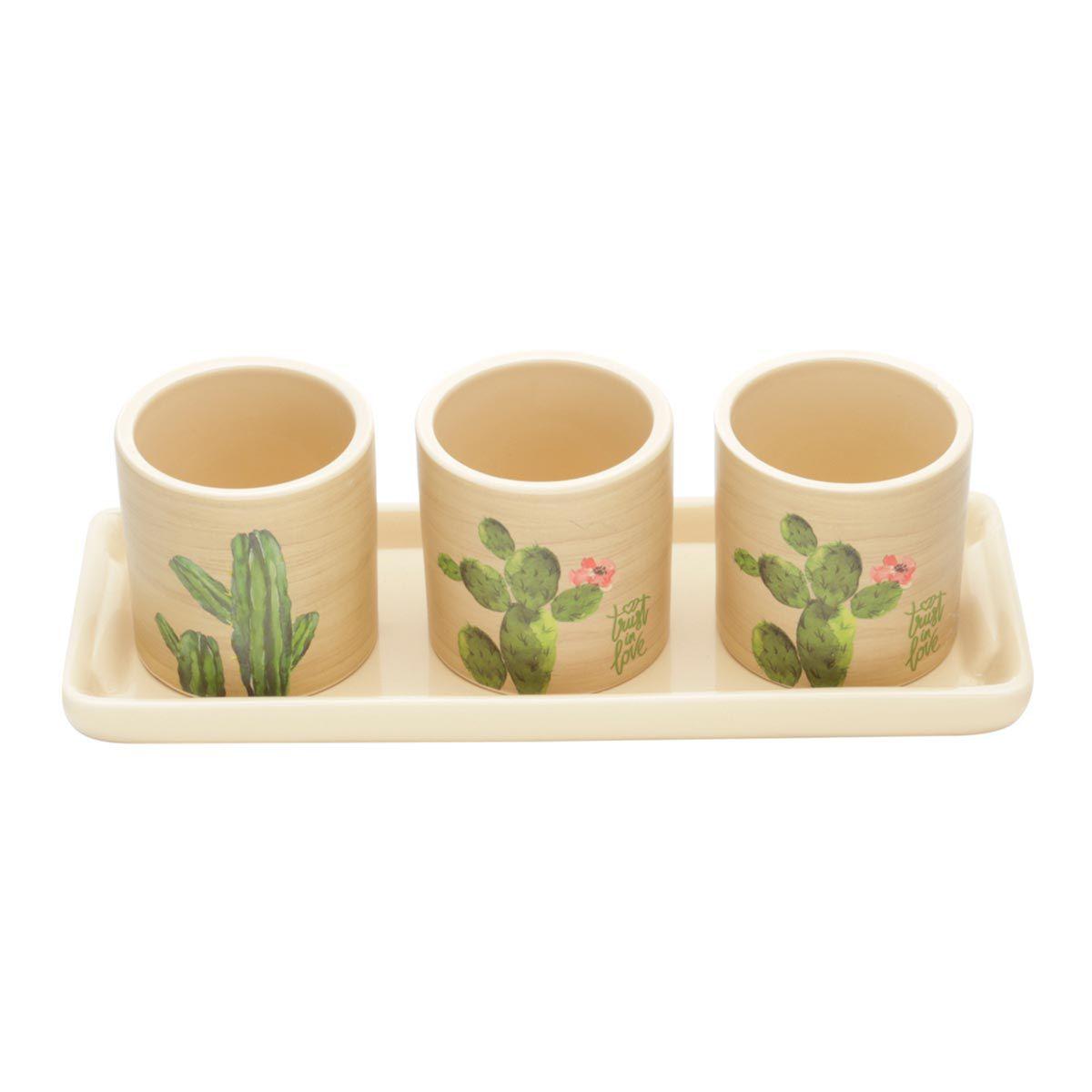 Conjunto 3 Cachepots Vasos de Cerâmica com Bandeja Cactus Bege