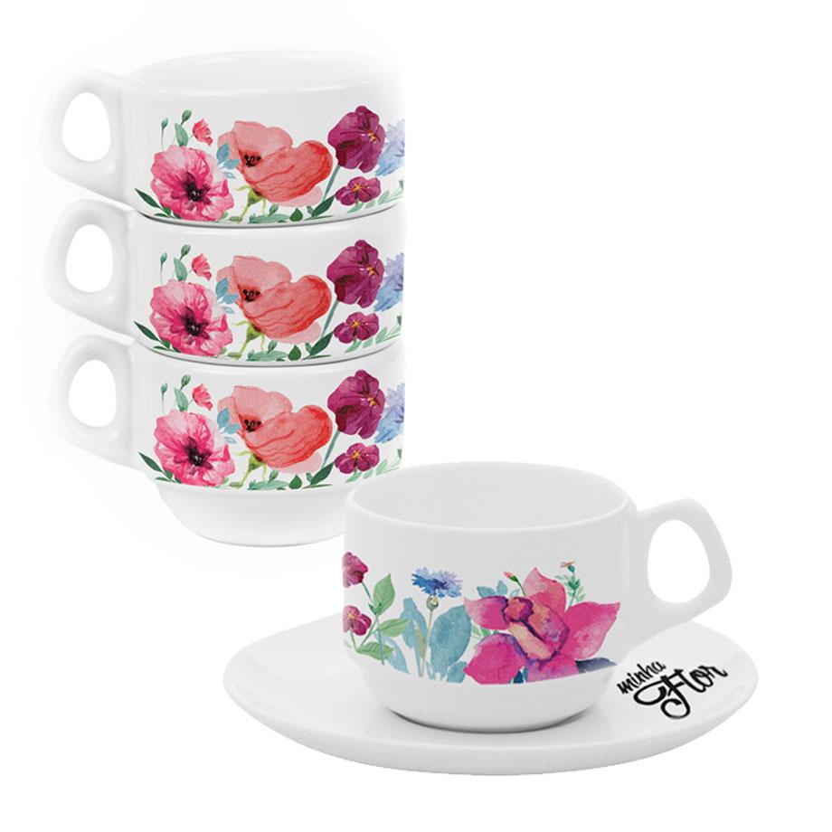 Conjunto 4 Xícaras de Café Empilháveis Mãe, Minha Flor