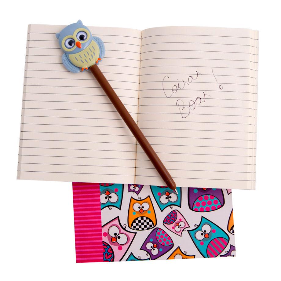 Conjunto Caderno e Caderneta Corujinhas