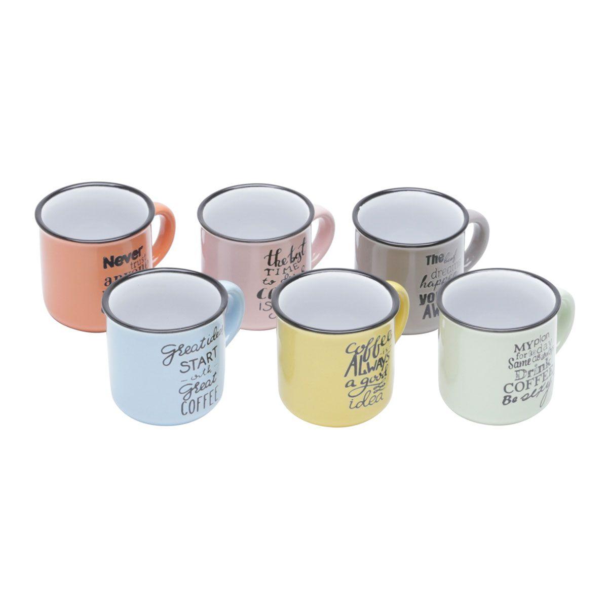 Conjunto de Canecas Porcelana Retrô Coloridas 6 Peças Motive