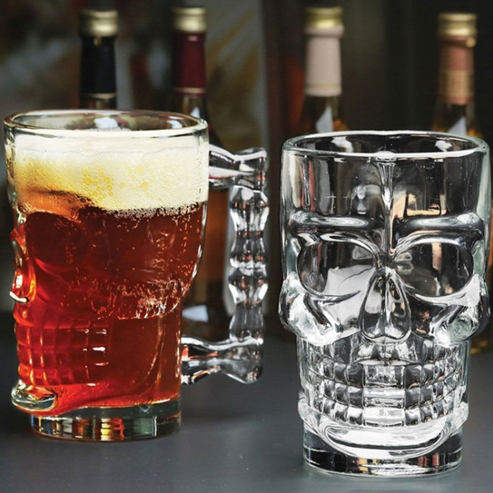 Kit 8 Canecas Caveira Vidro 510ml Skull Chopp Cristal Rock