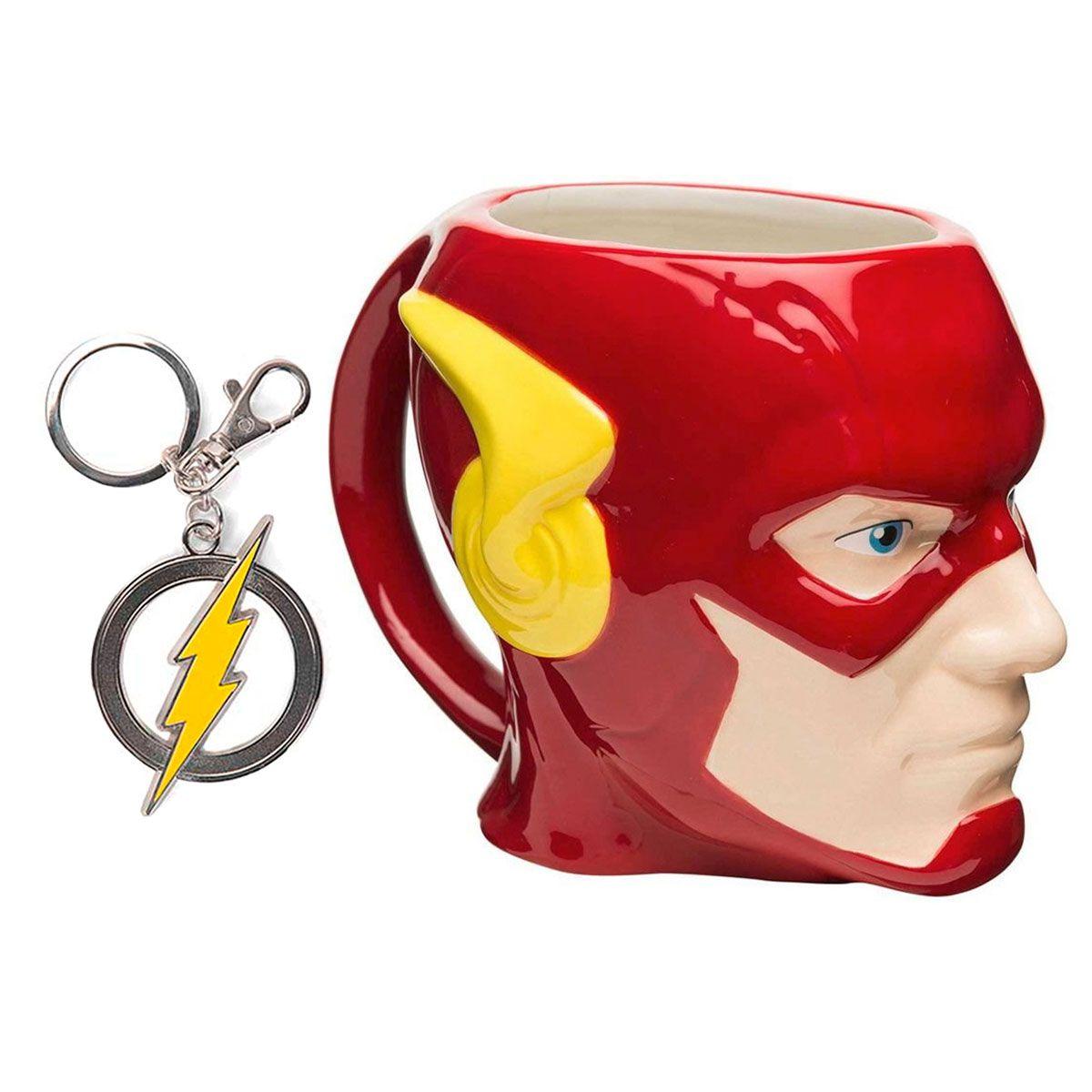 Kit Caneca Porcelana 3D  e Chaveiro Flash Dc Comics