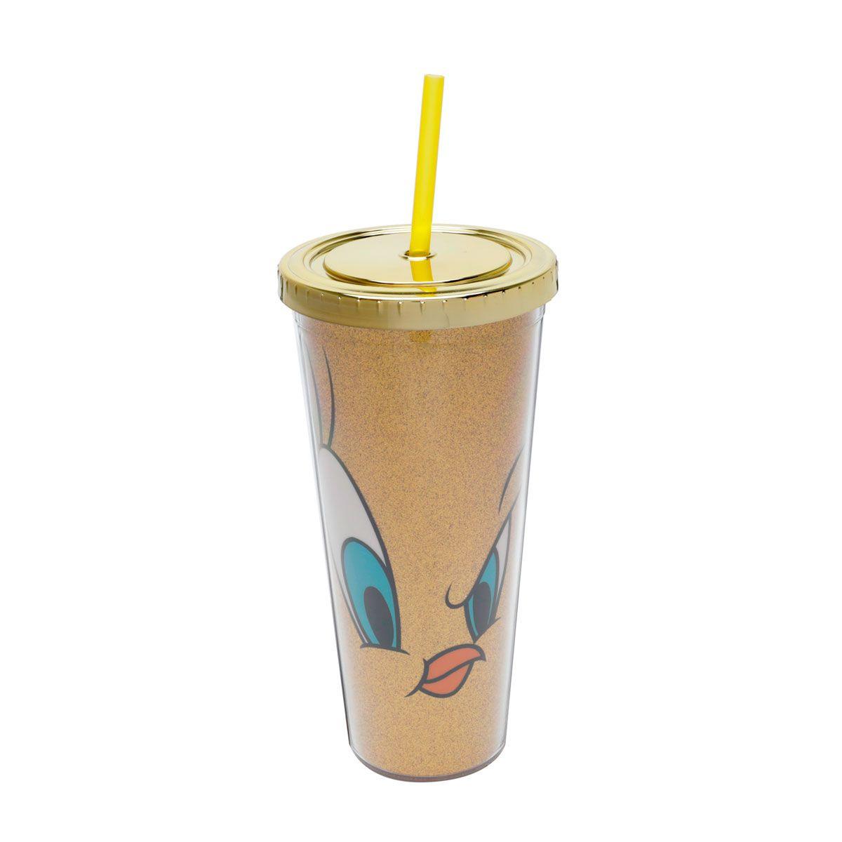 Copo Canudo 600 ml Piu Piu Looney Tunes