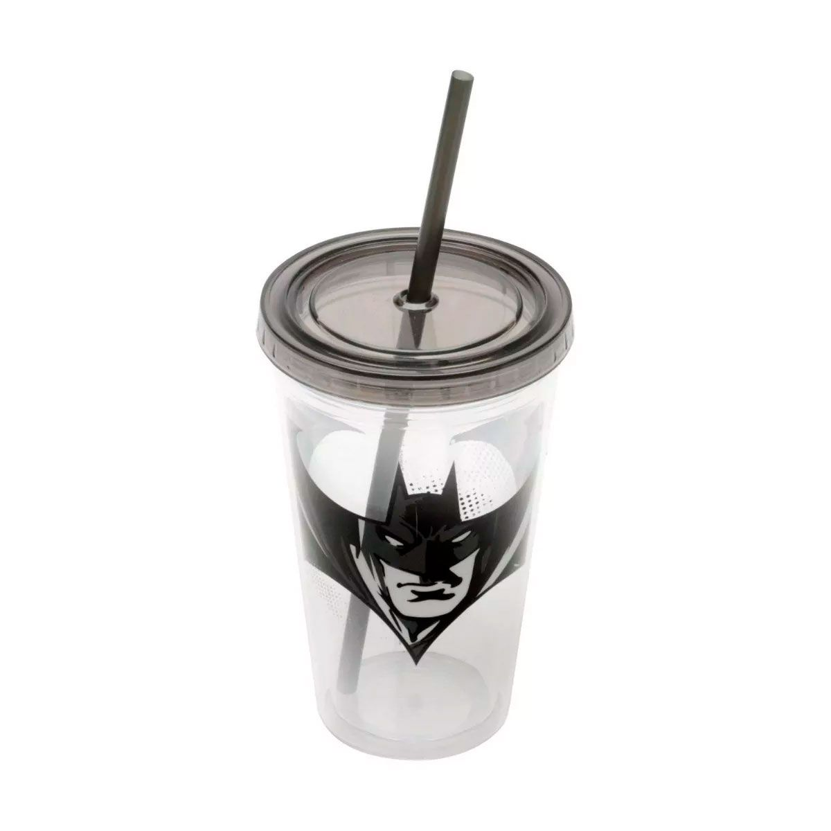 Copo Canudo Batman Transparente