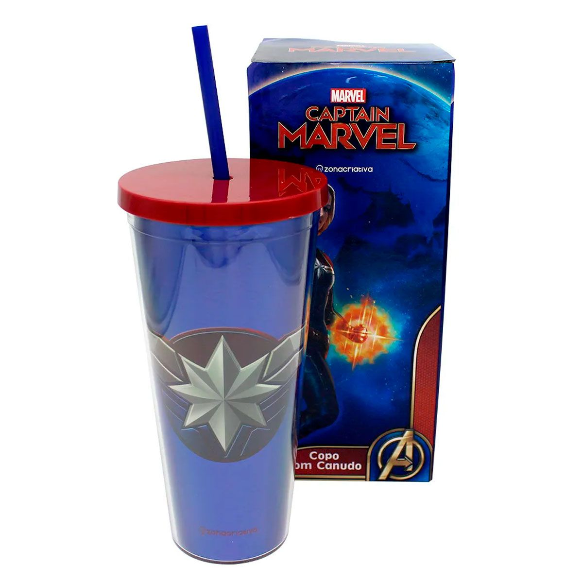 Copo Canudo Capitã Marvel 650 ml