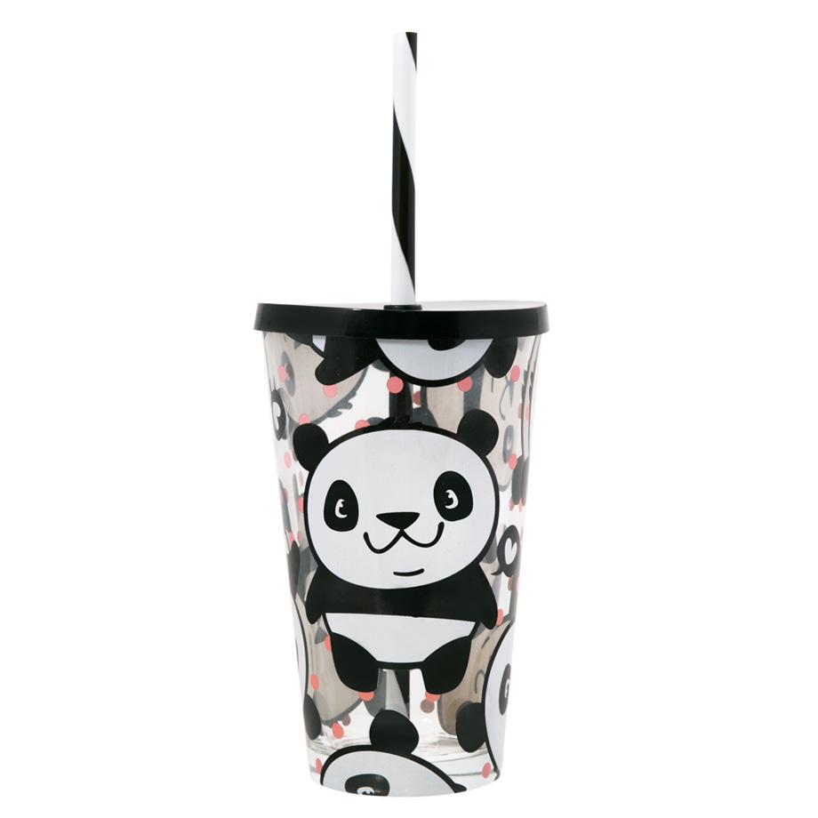 Copo Canudo de Vidro - Panda