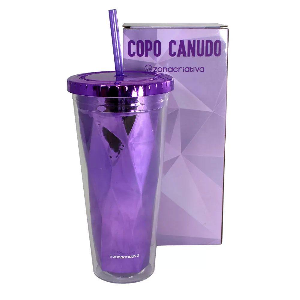 Copo Canudo Diamond Roxo 650 ml
