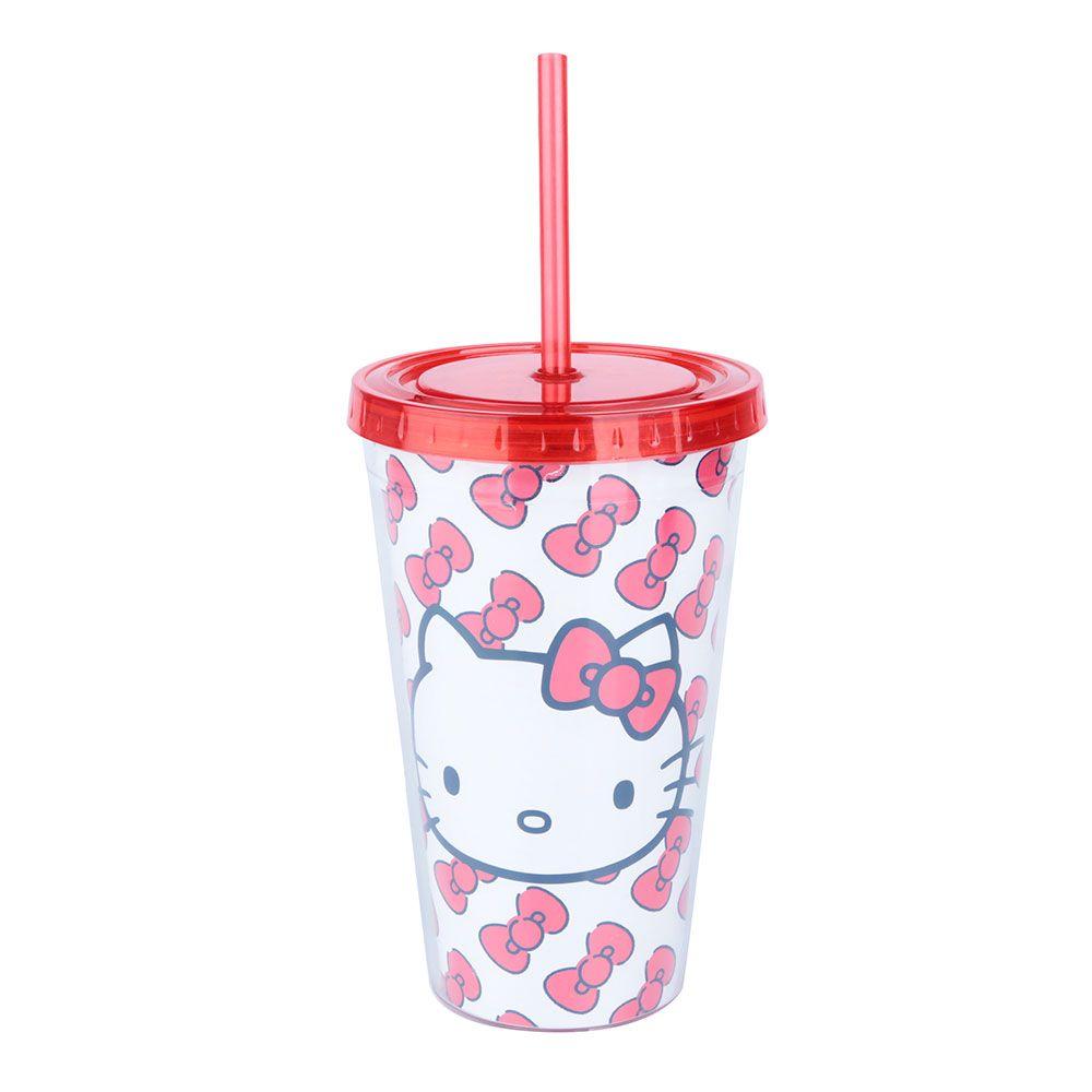 Copo Canudo Hello Kitty Laces Branco