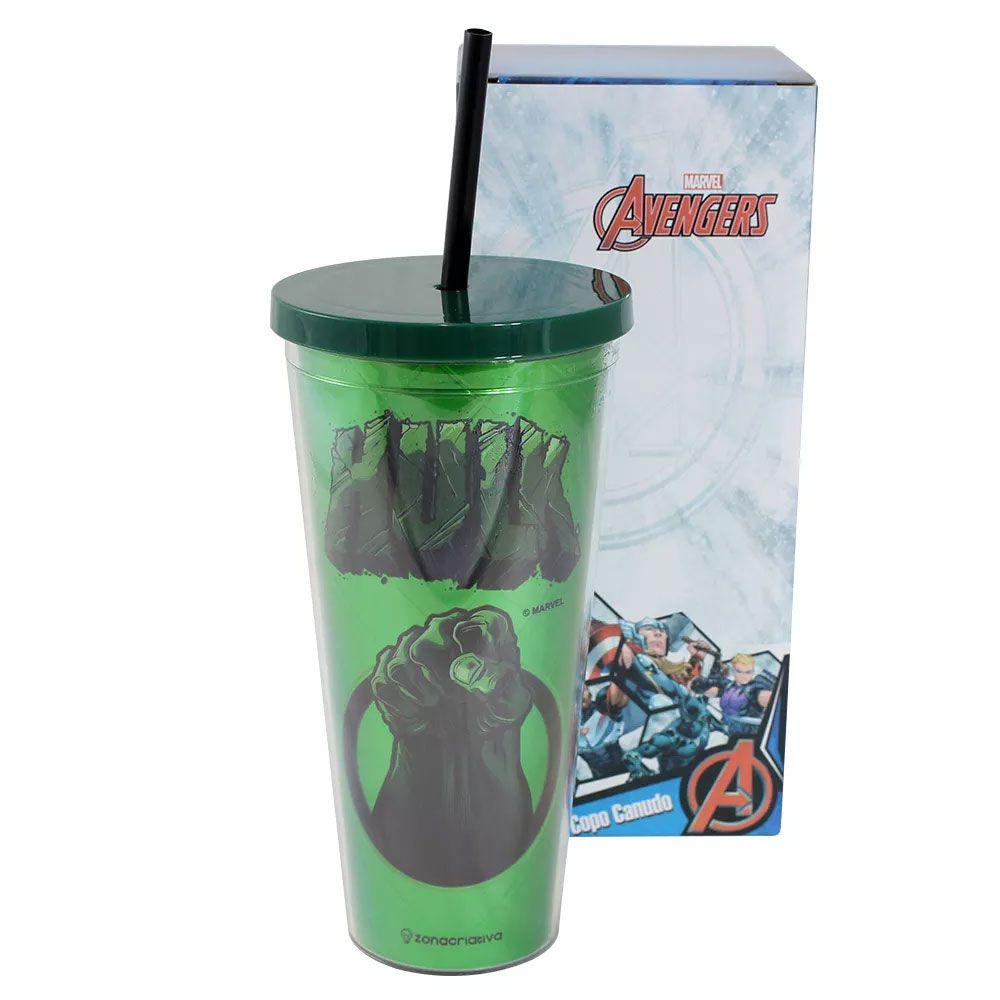 Copo Canudo Metálico Hulk 650 ml - Vingadores