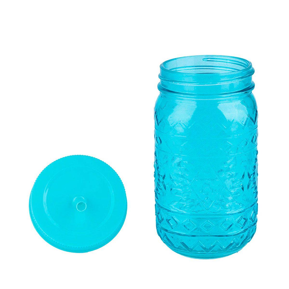 Copo de Vidro com Tampa e Canudo Maya Style Azul 500 ml