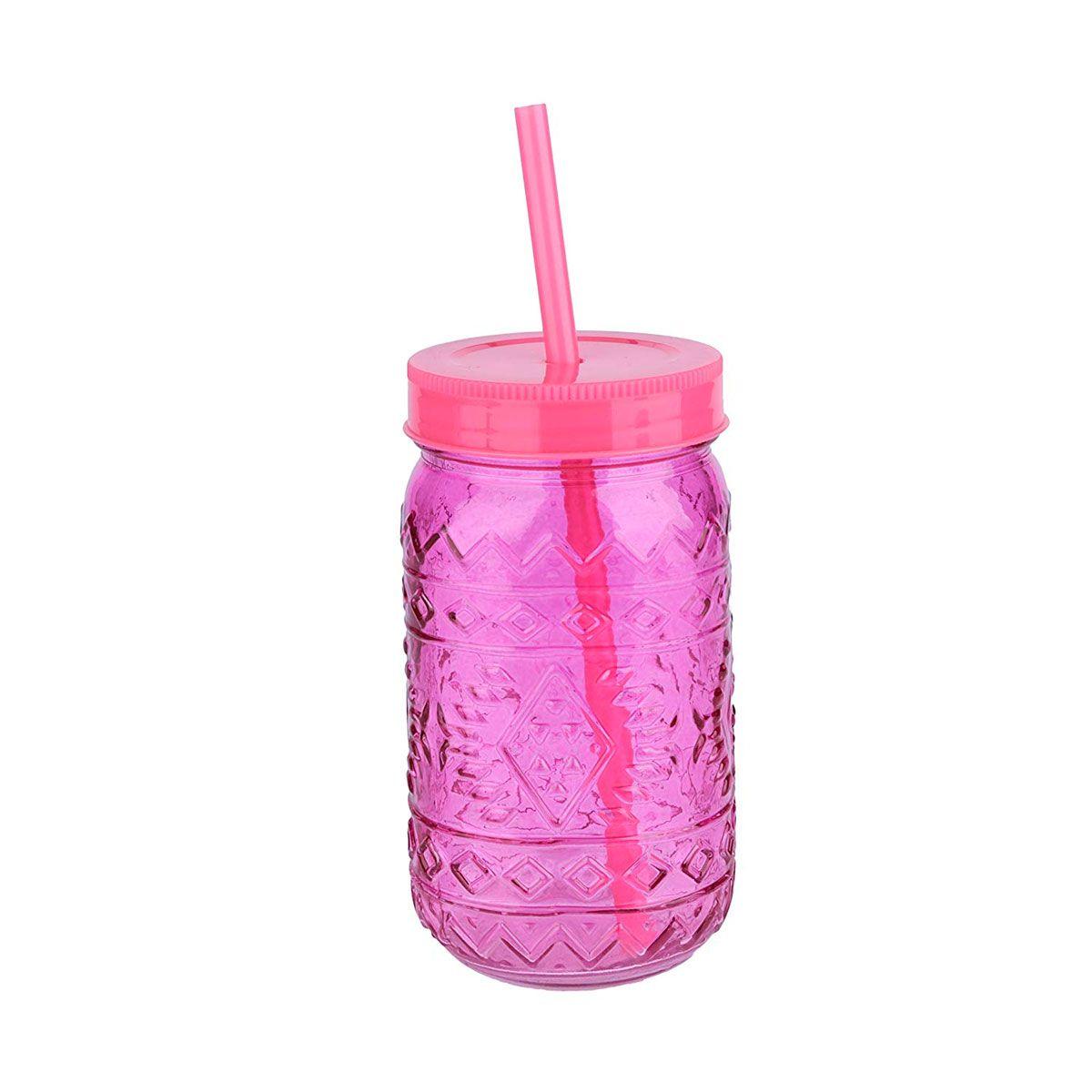 Copo de Vidro com Tampa e Canudo Maya Style Rosa 500 ml