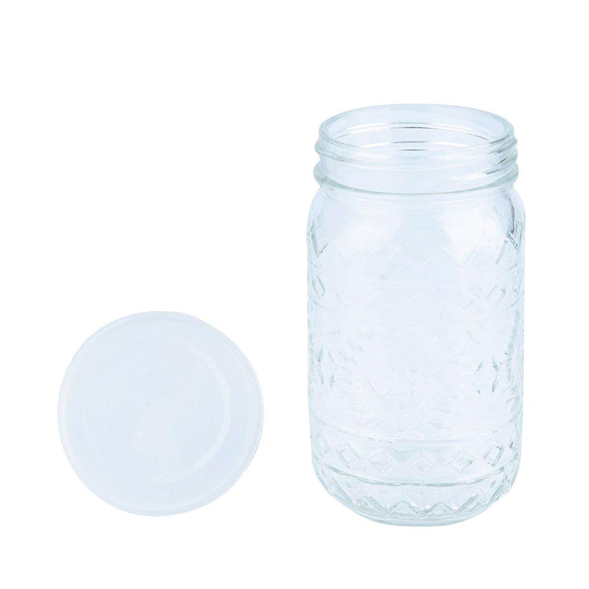 Copo de Vidro com Tampa e Canudo Maya Style Transparente 500 ml