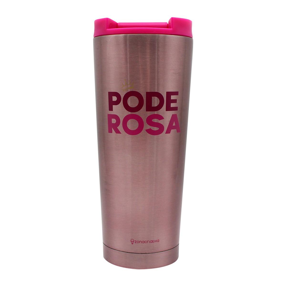 Copo Para Viagem  Poderosa Rosa