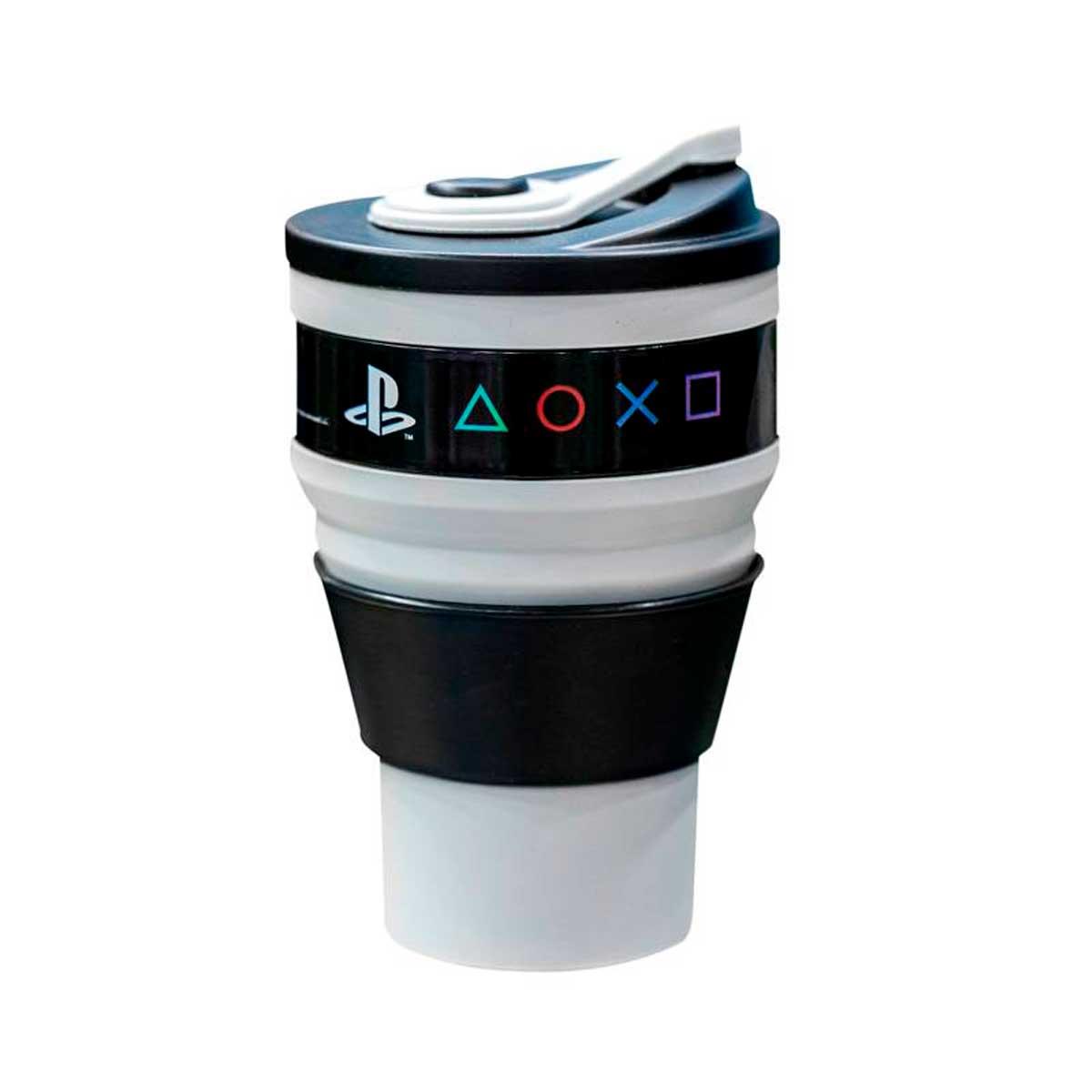Copo Retrátil Dobrável de Silicone Playstation Cinza