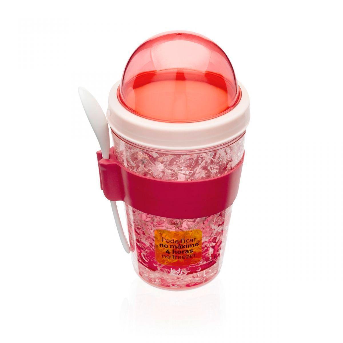 Copo Snack Congelável com Colher - Flamingos