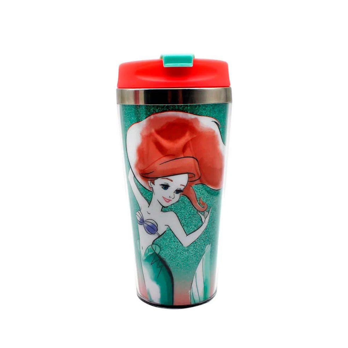 Copo Térmico com Glitter Ariel a Pequena Sereia