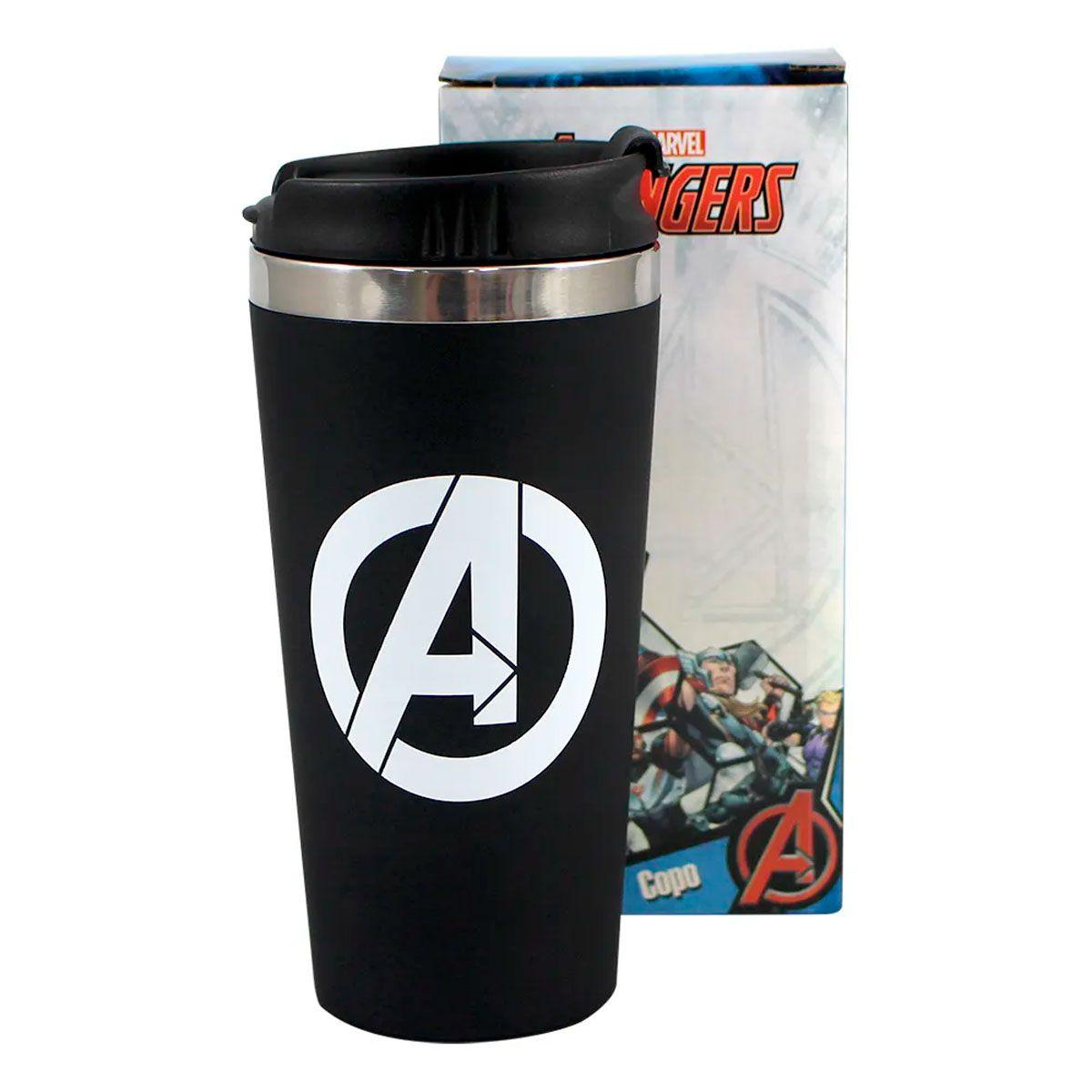 Copo Térmico Emborrachado Avengers Logo - Vingadores