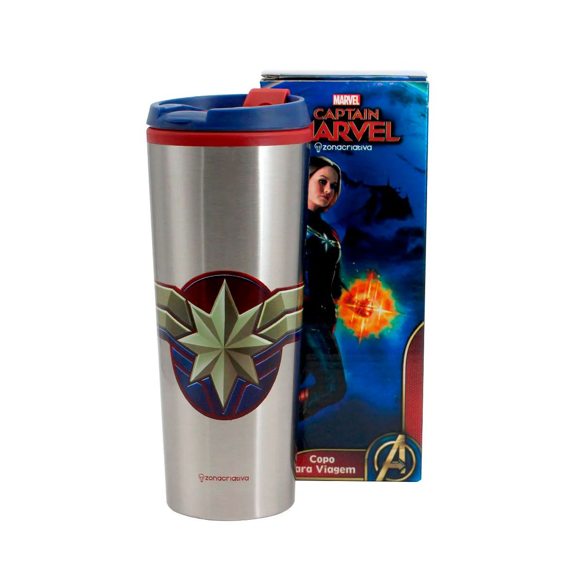 Copo Viagem 450 ml Capitã Marvel - Vingadores